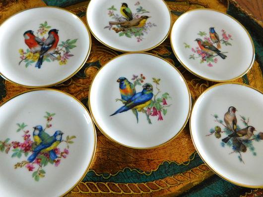 Винтажная посуда. Ярмарка Мастеров - ручная работа. Купить Фарфоровые розеточки «Keiser Porzellan» «Птичьи пары» 60-ые. Handmade.