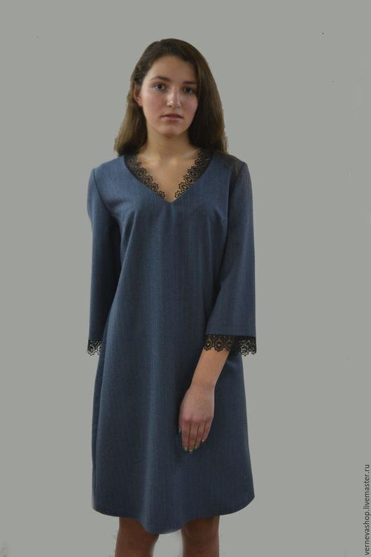 Платья ручной работы. Ярмарка Мастеров - ручная работа. Купить Платье деловое «Шерсть с кружевом». Handmade. Тёмно-синий