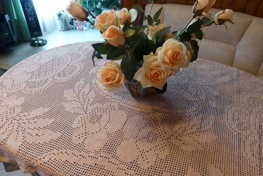 Текстиль, ковры ручной работы. Ярмарка Мастеров - ручная работа. Купить Скатерть вязаная № 074. Handmade. Бежевый
