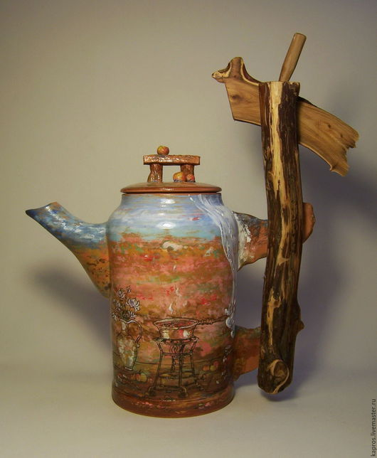 """Чайники, кофейники ручной работы. Ярмарка Мастеров - ручная работа. Купить Чайник """"Осень на даче"""". Handmade. Коричневый, можжевельник"""