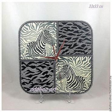 Для дома и интерьера ручной работы. Ярмарка Мастеров - ручная работа Часы СЧАСТЛИВЫЕ ЗЕБРЫ часы интерьерные. Handmade.