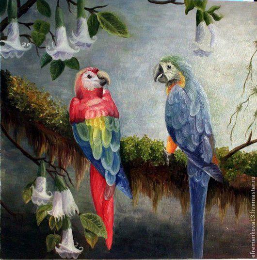 Животные ручной работы. Ярмарка Мастеров - ручная работа. Купить Картина маслом Попугаи. Handmade. Голубой, лес, картина маслом