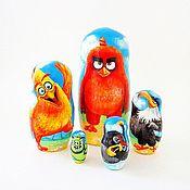 Русский стиль ручной работы. Ярмарка Мастеров - ручная работа Матрешка 5 мест Angry Birds, мультяшная матрёшка Энгри Бёрдс. Handmade.