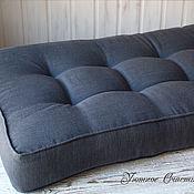 Подушки ручной работы. Ярмарка Мастеров - ручная работа Сидушка подушка матрас на скамью льняная темно-серого цвета. Handmade.