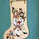 Элементы интерьера ручной работы. Ярмарка Мастеров - ручная работа. Купить Новогодний сапожок, christmas stocking, сапожок для подарков. Handmade.