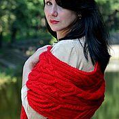 """Аксессуары ручной работы. Ярмарка Мастеров - ручная работа В наличии длинный теплый вязаный шарф с косами """"Страсть"""" красный. Handmade."""