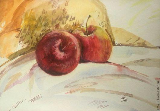 """Натюрморт ручной работы. Ярмарка Мастеров - ручная работа. Купить Натюрморт акварелью """"Бочком к бочку"""". Handmade. Бордовый, натюрморт с яблоками"""