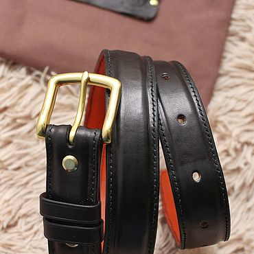 Accessories handmade. Livemaster - original item Belt with a podium of leather stitched by hand in black.. Handmade.