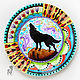 Decorative plate 'Wolf howls at the moon', Plates, Krasnodar,  Фото №1