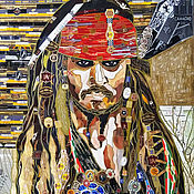 Картины и панно handmade. Livemaster - original item Picture of cigar ribbons Portrait of Captain Jack Sparrow. Handmade.