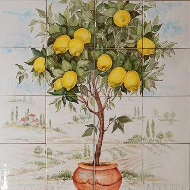"""Картины и панно ручной работы. Ярмарка Мастеров - ручная работа Керамическое панно """"Лимонное дерево"""". Handmade."""