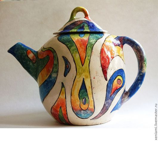 Сервизы, чайные пары ручной работы. Ярмарка Мастеров - ручная работа. Купить Чайник глиняный лепной 6. Handmade. яркий