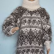 Одежда handmade. Livemaster - original item Knitted sweater dress Turtleneck cowl neck fluffy goat. Handmade.