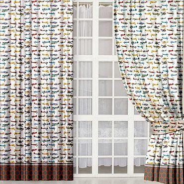 """Текстиль ручной работы. Ярмарка Мастеров - ручная работа Шторы """"Самолеты"""". Handmade."""