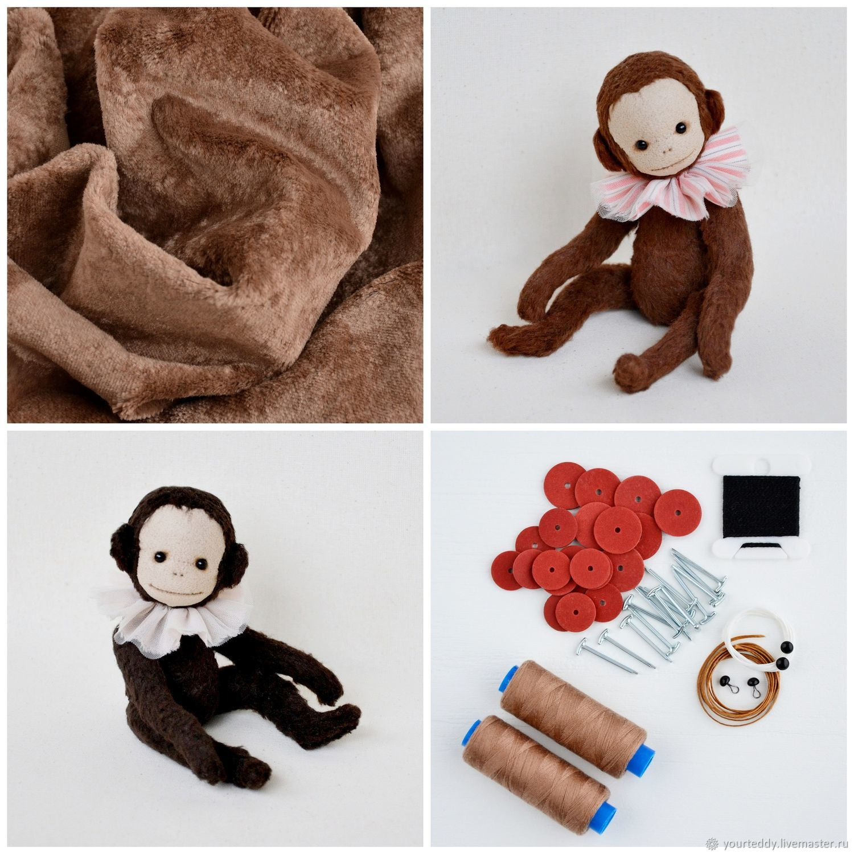 Sewing kit Teddy monkey + monkey pattern, Blanks for dolls and toys, Voskresensk,  Фото №1