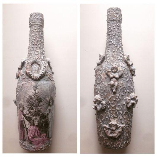 Новый год 2017 ручной работы. Ярмарка Мастеров - ручная работа. Купить Декор  бутылки. Handmade. Серый, новогодний сувенир, ангел