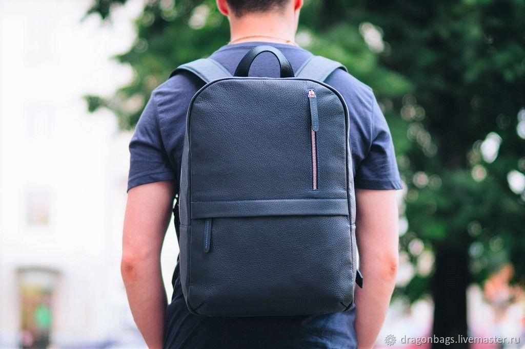 """Мужской кожаный рюкзак """"Tayler"""" (Тёмно - синий), Рюкзаки, Ярославль,  Фото №1"""