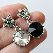 Украшения handmade. Livemaster - original item Silver earrings with black and white Swarovski crystals. Handmade.