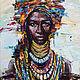 Люди, ручной работы. Ярмарка Мастеров - ручная работа. Купить Африканская царица. Handmade. Комбинированный, портрет африканки, подарок женщине