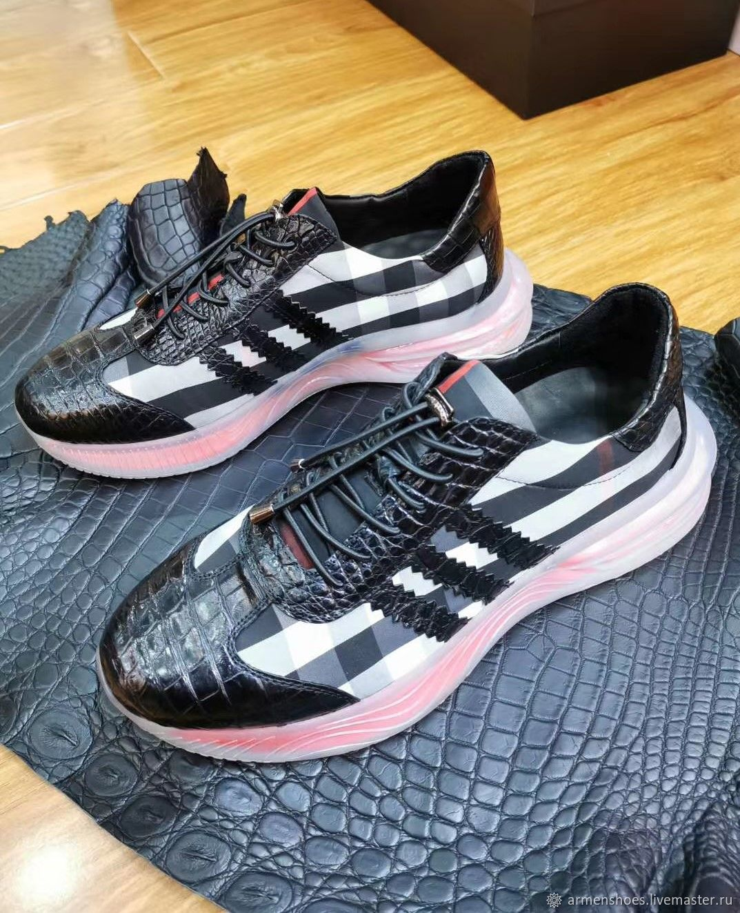 Sneakers made of genuine crocodile leather and material, custom made!, Sneakers, Tosno,  Фото №1