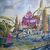 "Картины и панно handmade. Livemaster - original item Батик панно на шелке ""Таинственный город"". Handmade."