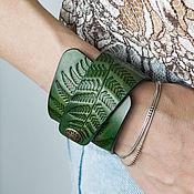 Украшения handmade. Livemaster - original item A leather bracelet Green, a collection of