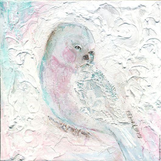 Сказочная картина Радость сердца, Птица сказка. Белая картина с галерейной натяжкой  для любого интерьера. Картина для детской комнаты.Сказка в теплоте рук Алены Коневой