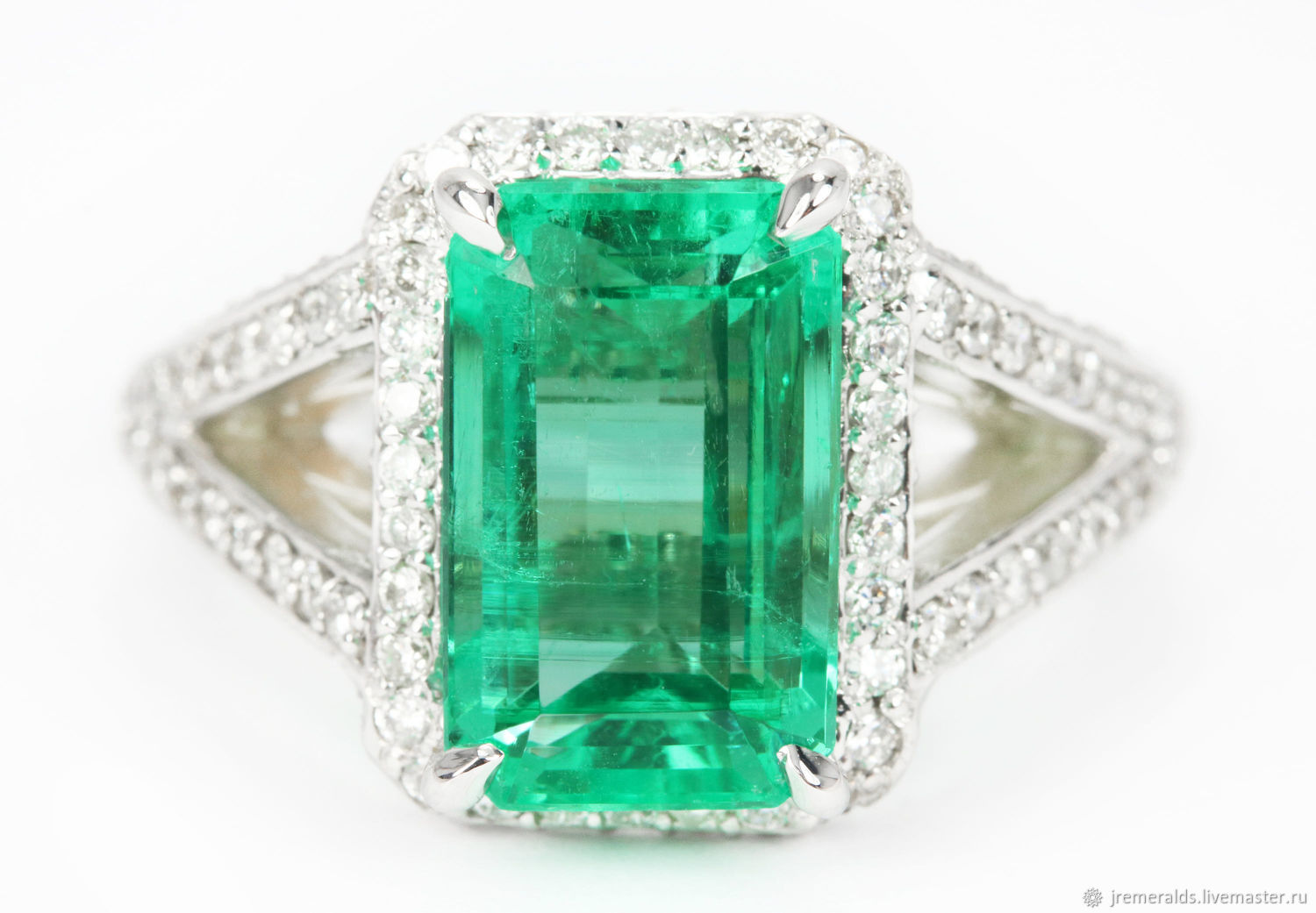 6.20 Carat Natural Colombian Emerald And Diamond Engagement Ring, Emer, Engagement ring, West Palm Beach,  Фото №1
