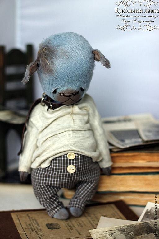 Мишки Тедди ручной работы. Ярмарка Мастеров - ручная работа. Купить Очень Голубой Щенок. Handmade. Голубой щенок, хлопок