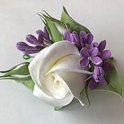 Украшения handmade. Livemaster - original item Hair clip with rose and lilac. Handmade.