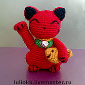 Куклы и игрушки ручной работы. Ярмарка Мастеров - ручная работа Красный Манеки Неко амигуруми (мини). Handmade.