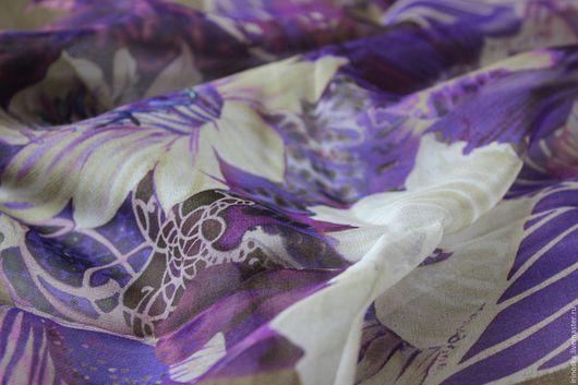 """Шитье ручной работы. Ярмарка Мастеров - ручная работа. Купить Натуральный шифон """"Фиолетовый букет"""". Handmade. Комбинированный, итальянский шелк"""
