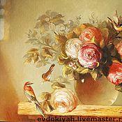 Картины и панно ручной работы. Ярмарка Мастеров - ручная работа КАРТИНА МАСЛОМ СОЛНЦЕ , ЦВЕТЫ И ПТИЧКИ. Handmade.