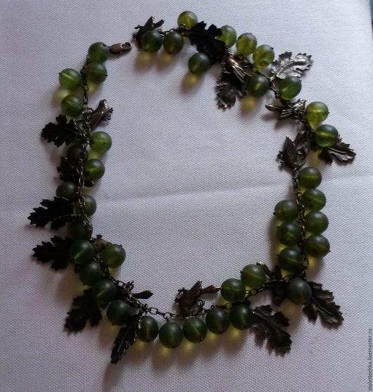 Ожерелье-колье `Райские птицы в крыжовнике`