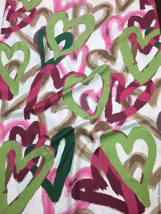 Шитье ручной работы. Ярмарка Мастеров - ручная работа. Купить Шелк натуральный с сердцами. Handmade. Комбинированный, италия, блузка