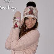 """Аксессуары handmade. Livemaster - original item Шапка и варежки """"Влюбленные снеговики"""" валяный комплект. Handmade."""