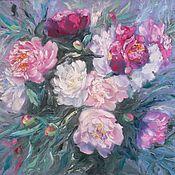 """Картины и панно handmade. Livemaster - original item Oil painting with peonies 50/60 """"Peony colour"""". Handmade."""