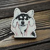 Украшения handmade. Livemaster - original item Wooden icon Cute Husky. Handmade.