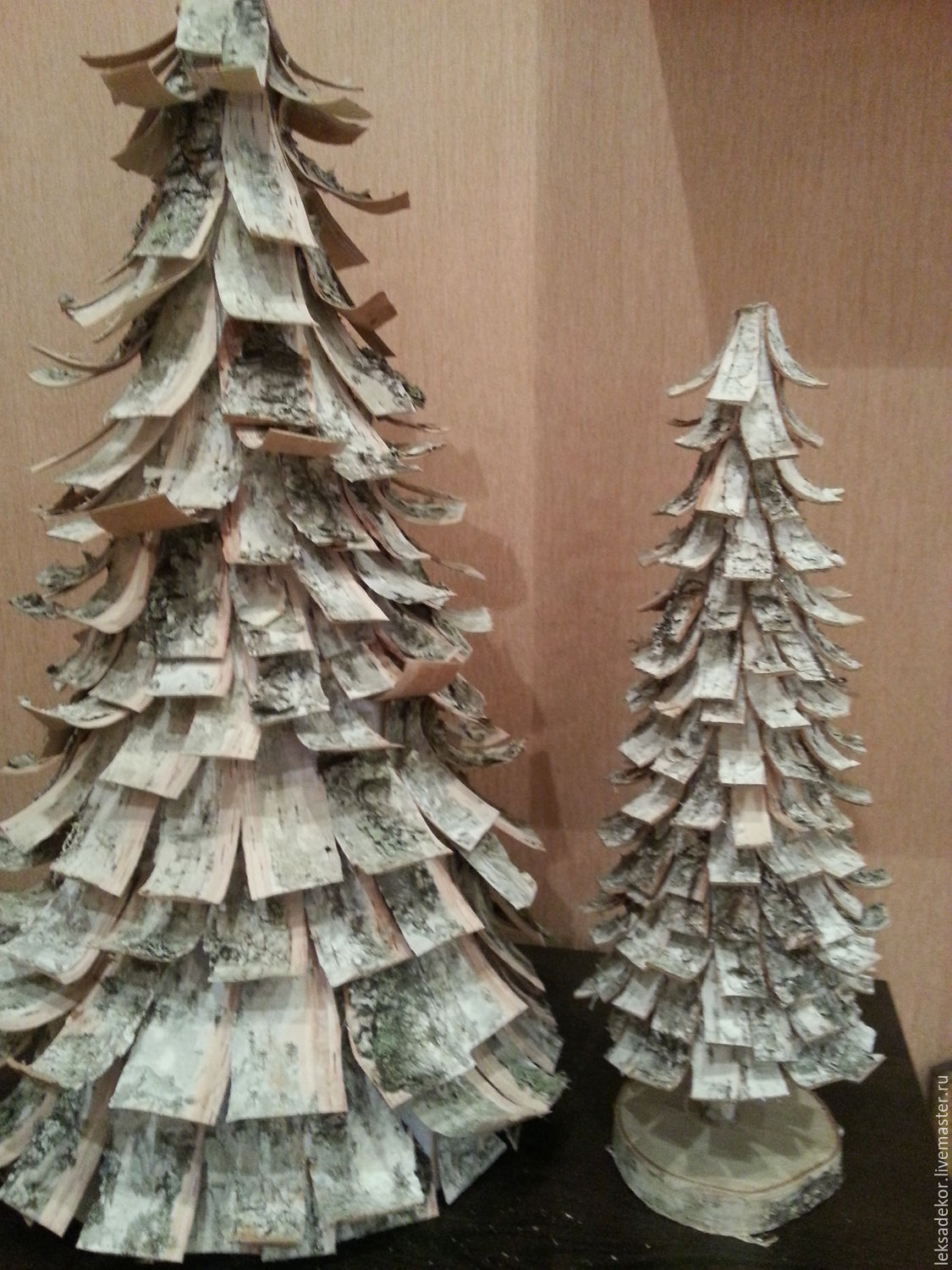 christmas tree made of birch bark to create a festive atmosphere in the interior