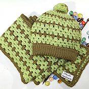 Аксессуары handmade. Livemaster - original item Knitted set scarf and hat lapel. Handmade.
