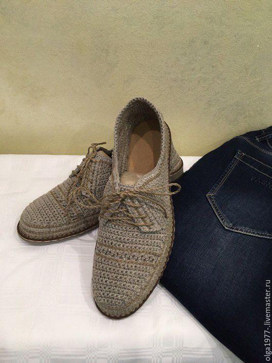 Обувь ручной работы. Ярмарка Мастеров - ручная работа. Купить мужские ботинки. Handmade. Серый, натуральный лён