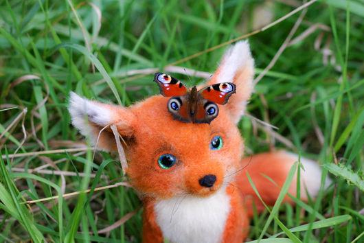 Игрушки животные, ручной работы. Ярмарка Мастеров - ручная работа. Купить Лисёнок с бабочкой. Handmade. Лиса, рыжий