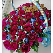 """Цветы и флористика ручной работы. Ярмарка Мастеров - ручная работа Корзина """"Любимой мамочке"""". Handmade."""