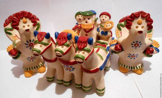 Народные куклы ручной работы. Ярмарка Мастеров - ручная работа. Купить Повозка. Handmade. Всадница, повозка, народная игрушка, лошадки