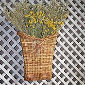 Картины и панно ручной работы. Ярмарка Мастеров - ручная работа Букет луговых цветов в плетеной корзине. Handmade.