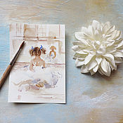 Картины и панно ручной работы. Ярмарка Мастеров - ручная работа Нежный балет - открытка акварелью. Handmade.