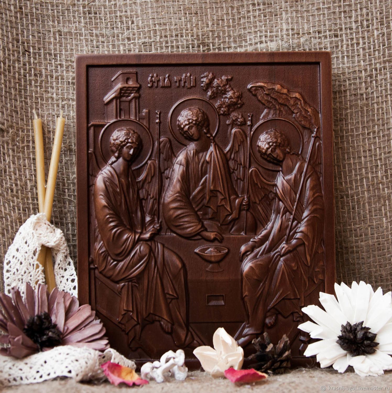 Резная икона Святая Троица 18х22 см, Иконы, Рязань,  Фото №1