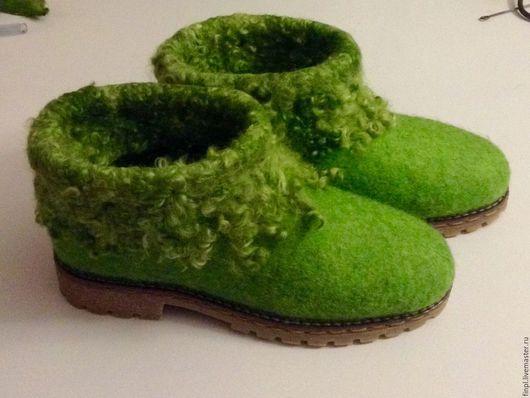 """Обувь ручной работы. Ярмарка Мастеров - ручная работа. Купить Сапожки """"Изумруд"""". Handmade. Зеленый, валенки, Валяние, обувь авторская"""
