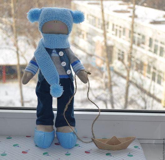 Куклы тыквоголовки ручной работы. Ярмарка Мастеров - ручная работа. Купить Текстильная кукла мальчик. Handmade. Голубой, мальчик