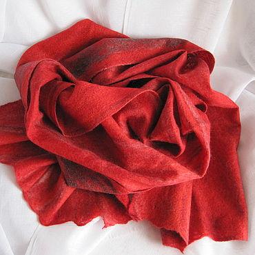 Аксессуары ручной работы. Ярмарка Мастеров - ручная работа Шарфы: Красный валяный шарф паутинка, Шарф валяный женский. Handmade.